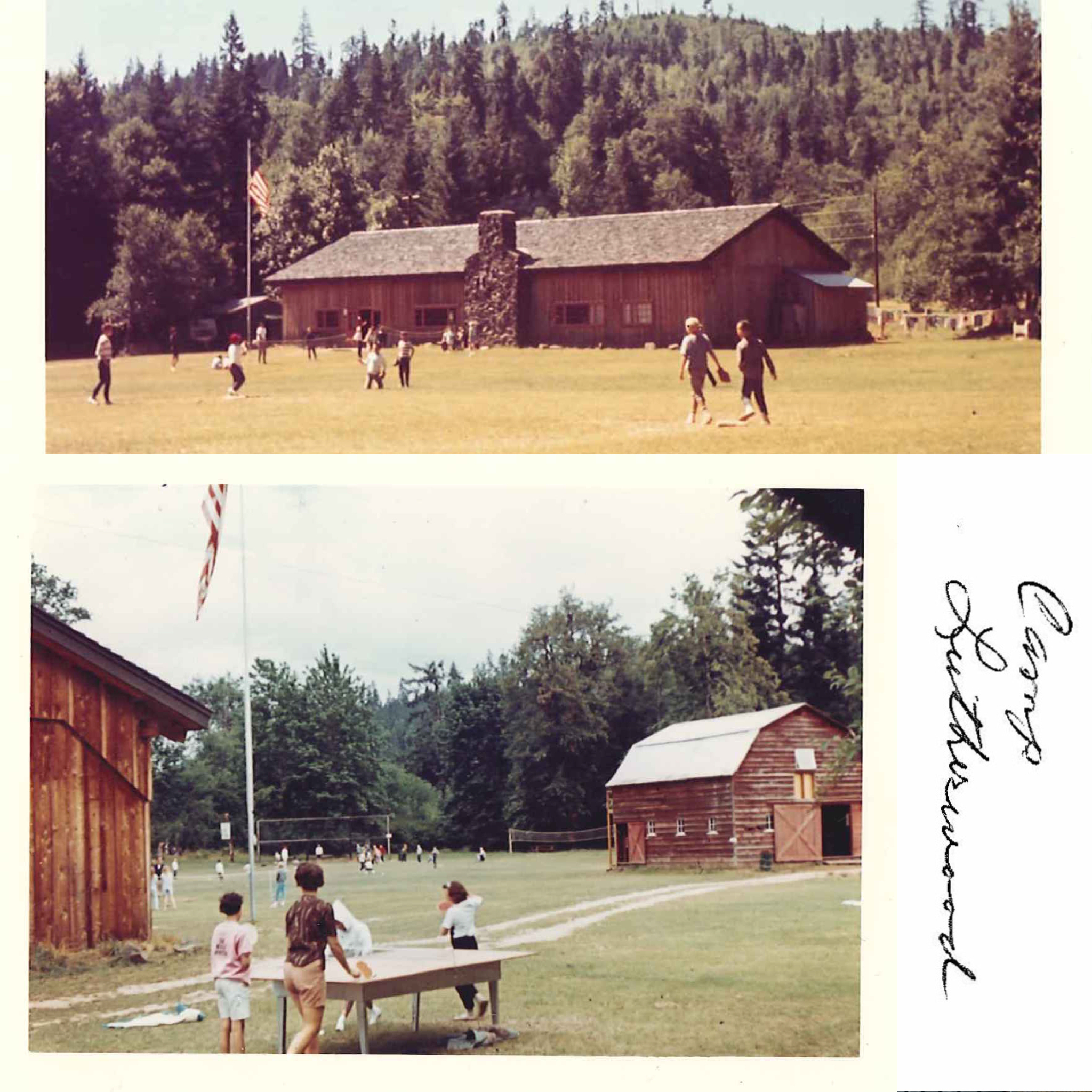 collage of photos from the 1960s the show the lodge and front field