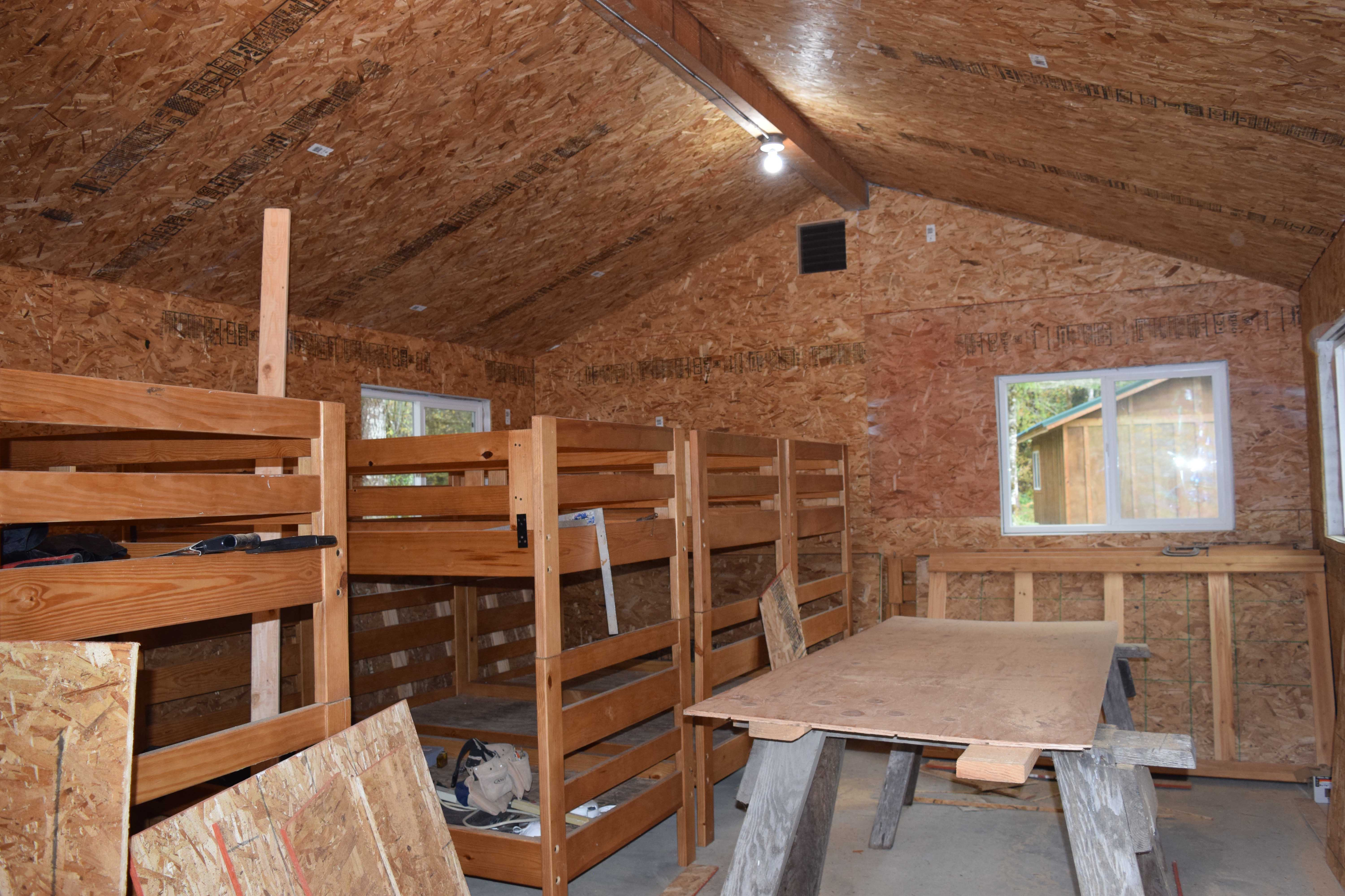 The inside of a finished (insulated and paneled) cabin became a cutting room