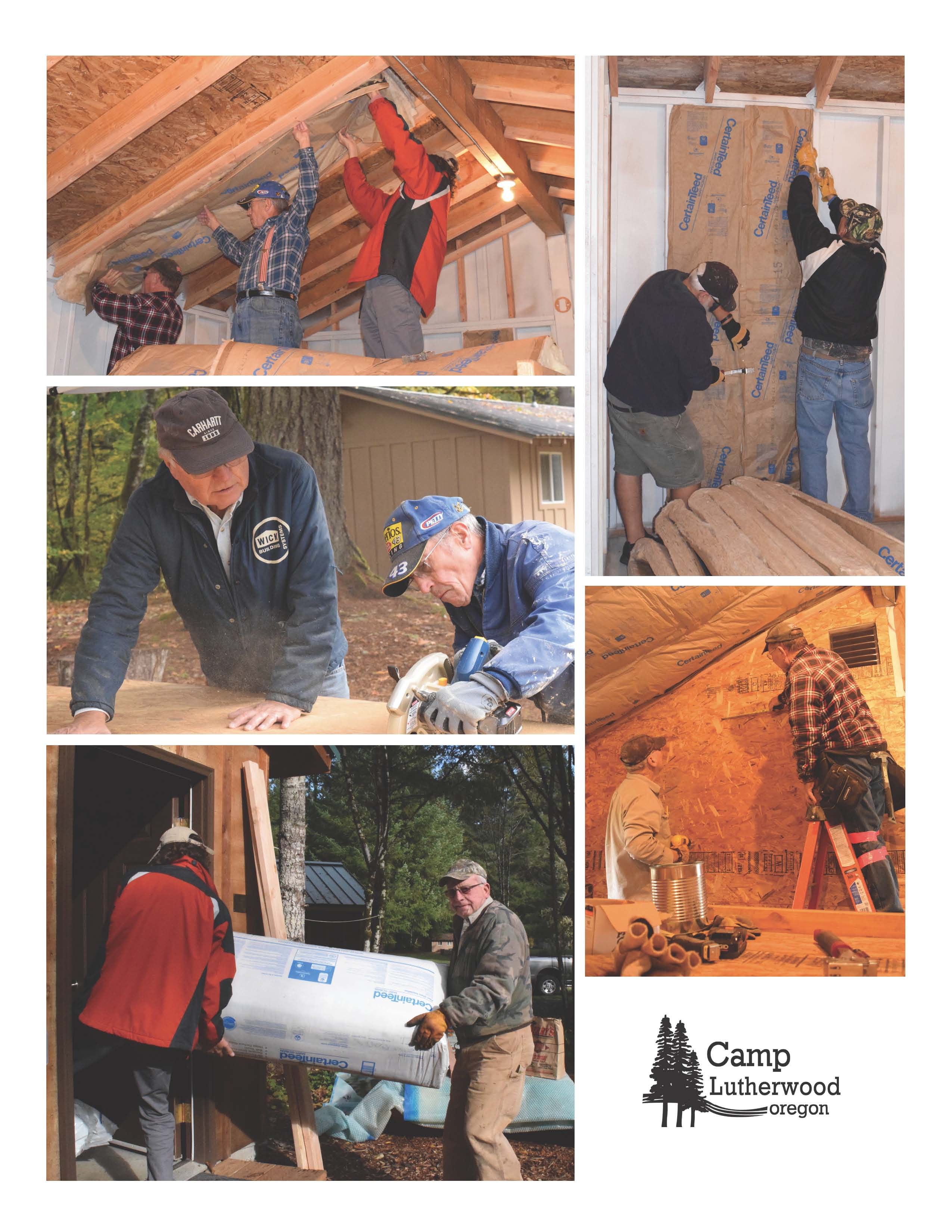 collage of action photos -- lifting insulation to the ceiling, nailing it to walls, cutting panelling, measuring on ladders, and carrying bags of insulation