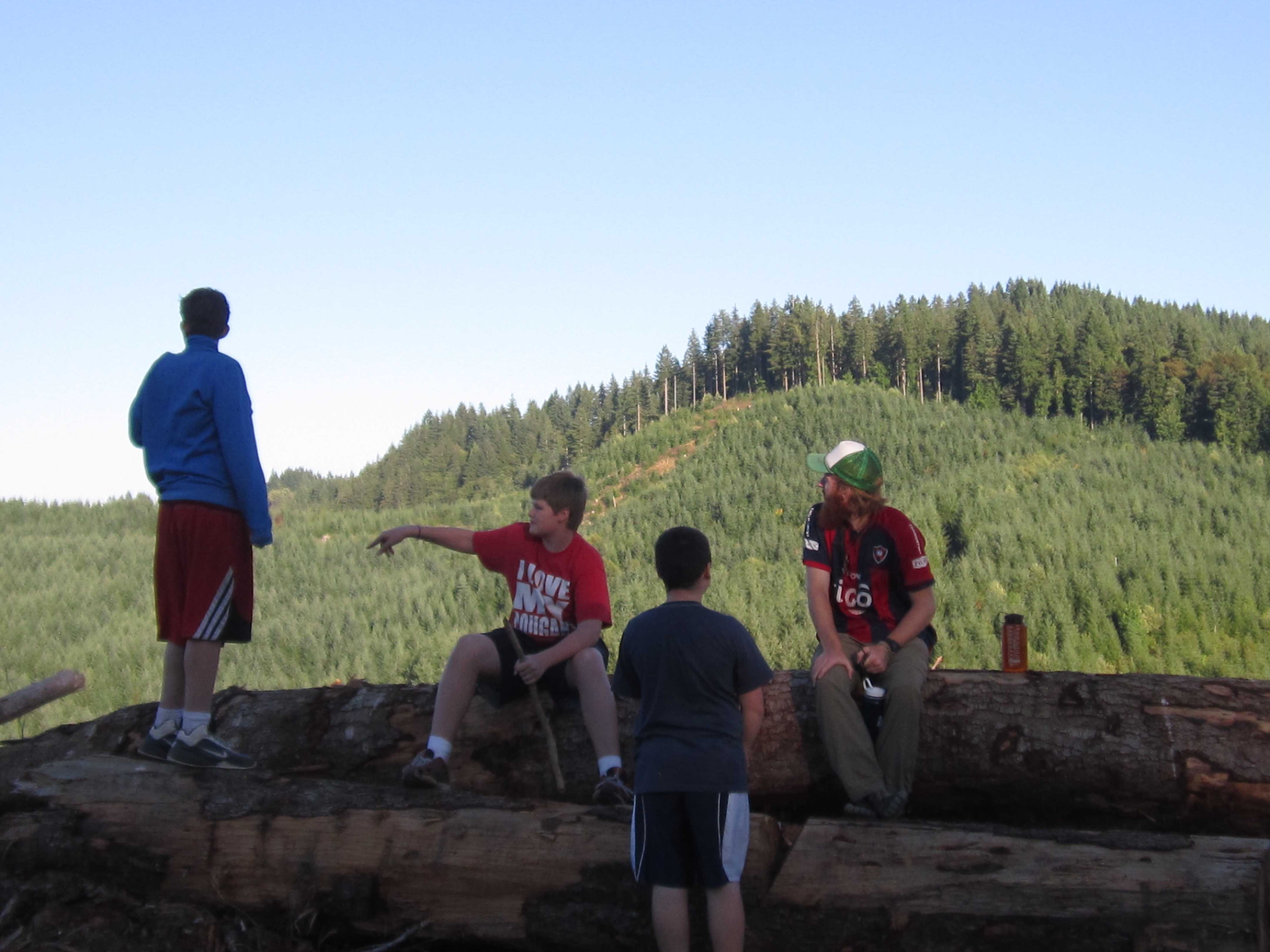 Base Campers take in the view from atop a ridge in the Coastal Foothills.