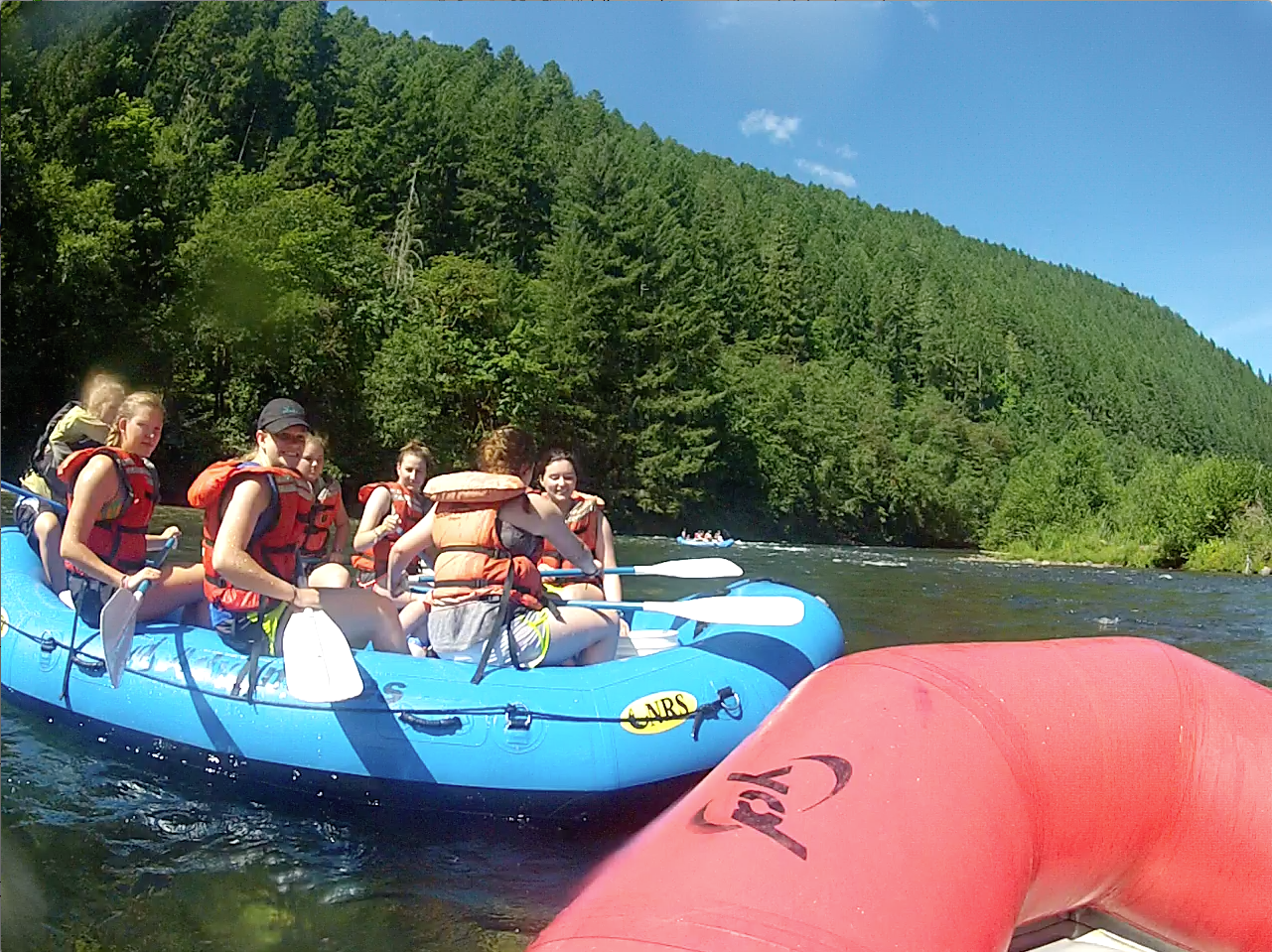 OASIS Campers unwind on the McKenzie after a week of serving local non-profits.